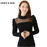 Plus Size M XXL 2015 Fashion Women Spring Stand Pearl Collar Lace Crochet Blouse Shirts Long