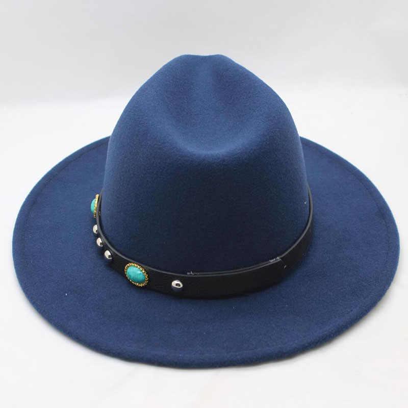 بنج يوان هاو شوان الربيع الشتاء فيدورا الرجال النساء خمر الجاز القبعات الأزياء نجوم قبعة مصنوعة من الصوف للجنسين الأسود ورأى تريلبي