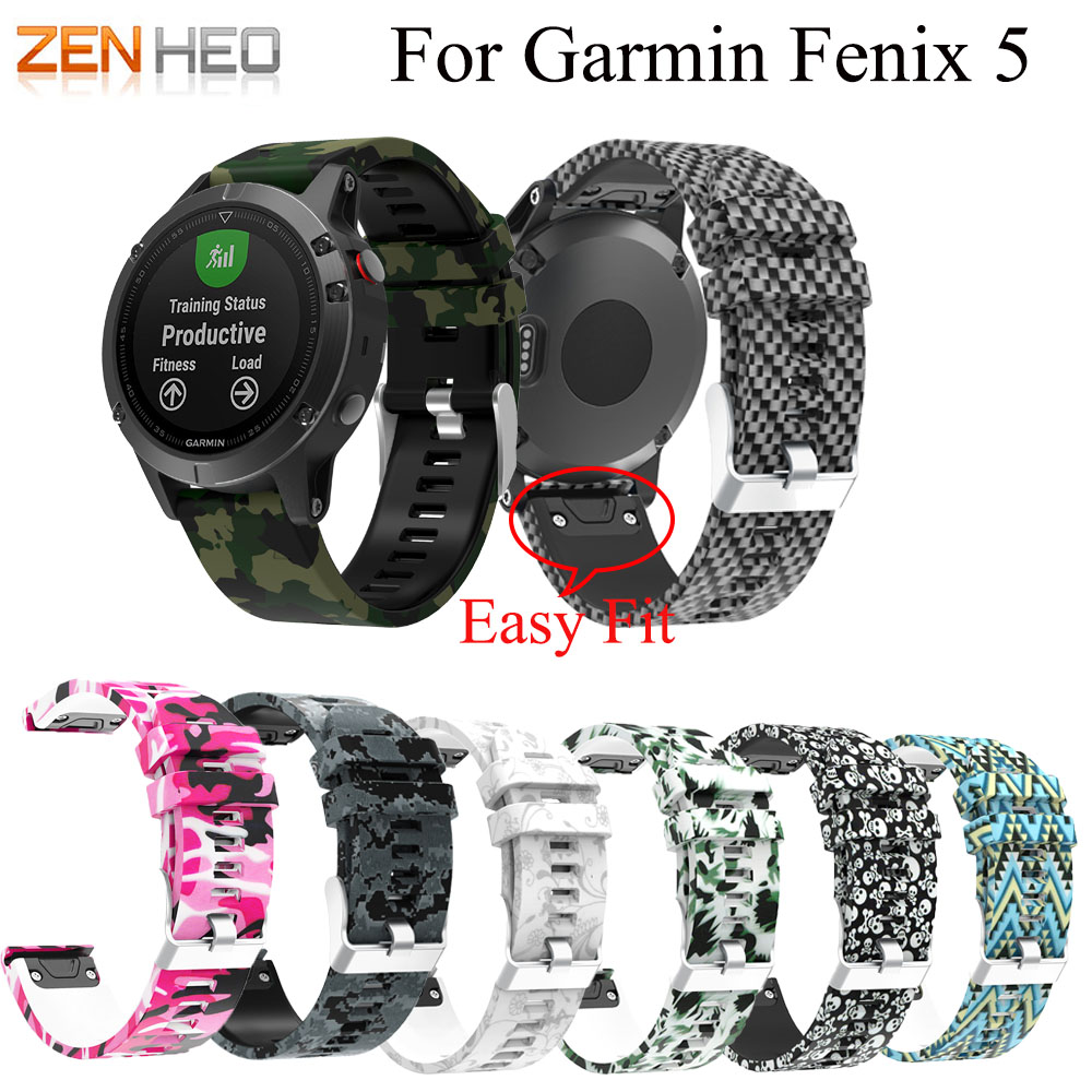 Wristband Bracelet-Strap Replacement Garmin Fenix Quick-Release Soft-Silicone 22mm 5/5-Plus