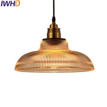 IWHD מסעדת אורות תליון רטרו בציר לופט בסגנון אמריקאי מנורה תעשייתית תליון זכוכית יצירתיים אור בית תאורה