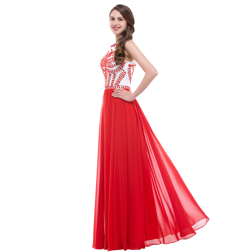 A Line Long Red Evening Dress 2017 Beading Prom Gowns Sleeveless ...