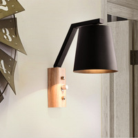 Europe Solid Wood LED Wall Lamp Bedside Read Wooden Lights Living Room aisel nordic black white remote control adjustble classic