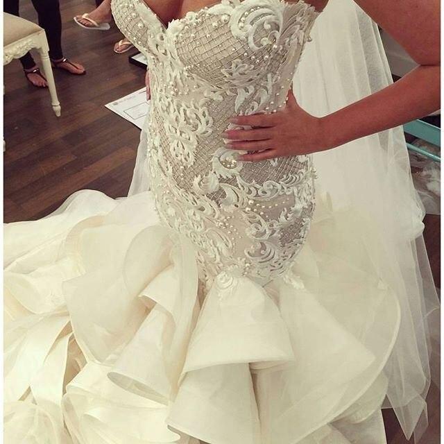 Luxo 2017 Vestidos de Casamento Custom made Querida sereia Vestidos de Noiva Contas Completos Babados Rejeito Vestidos de Noiva