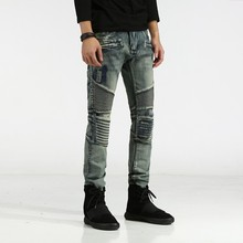 2017ss New Men's Jeans Spring and Autumn Embroidery Large Size Elastic Models Slim Young Locomotive Jeans