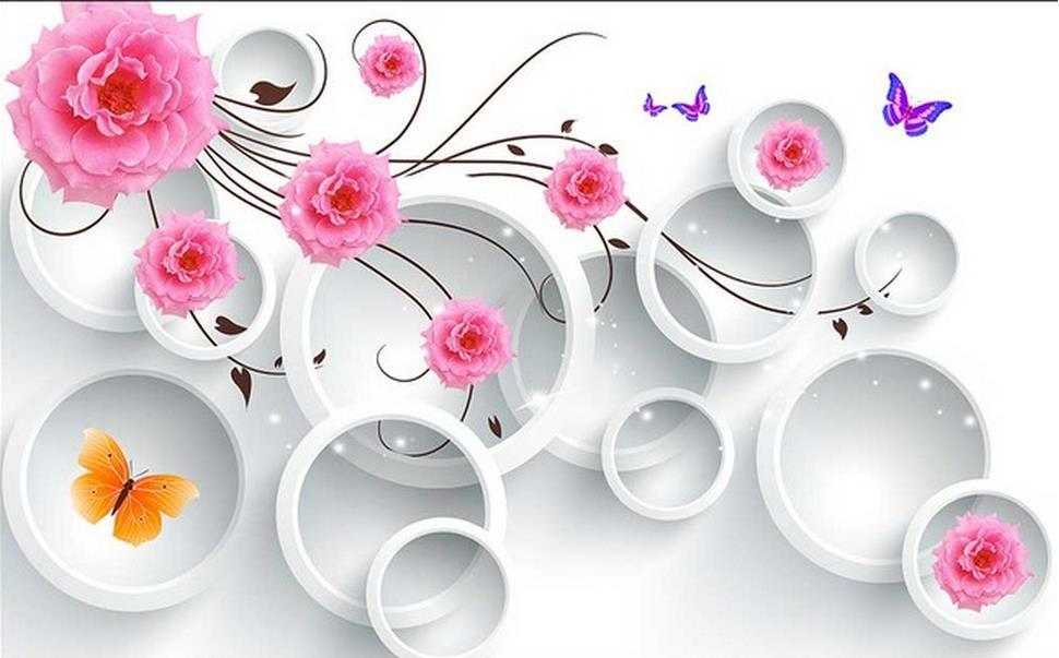 Customize Wallpaper Papel De Parede HD Pink 3D Circle Flowers 3d Mural Wall Paper In Wallpapers From Home Improvement On
