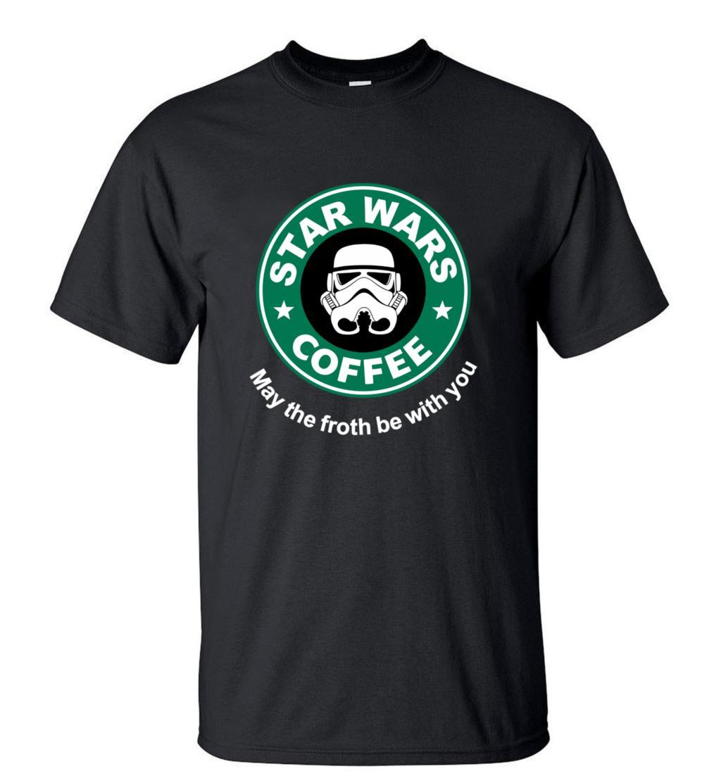 2019 New Arrival Fresco Camisa de T de star wars CAFÉ engraçado Impresso T-shirt Dos Homens de Manga Curta O Pescoço Streetwear HipHop Verão encabeça Tee