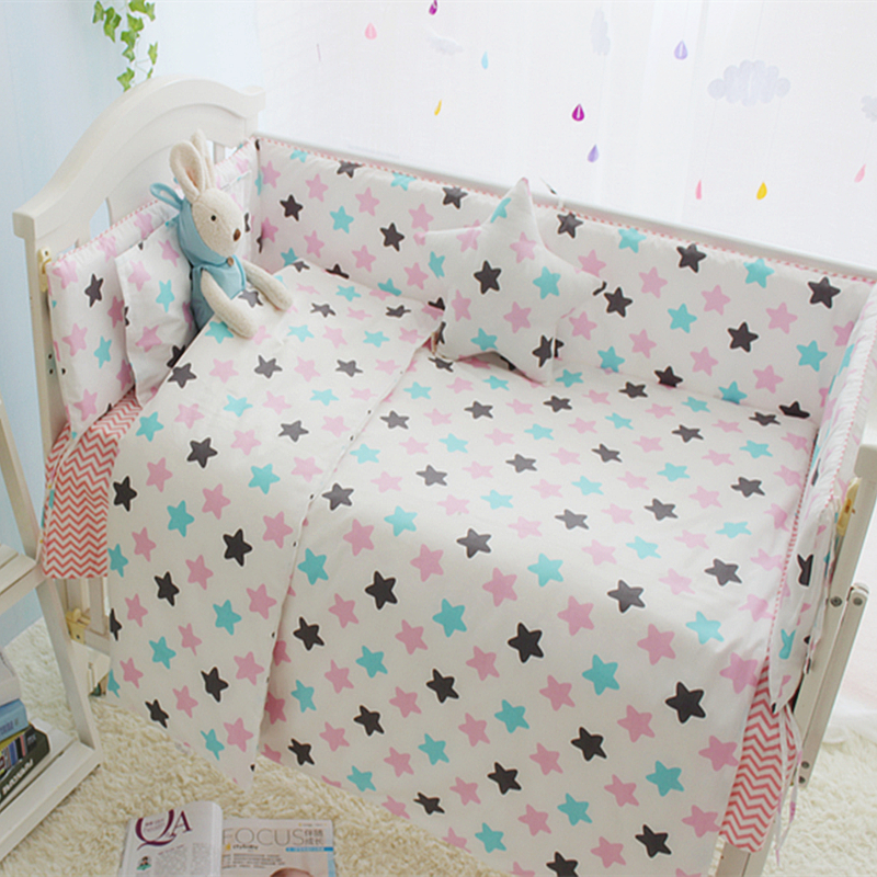Colorful Star Baby Crib Bedding Set Cotton Comfortable Baby Bed Sets