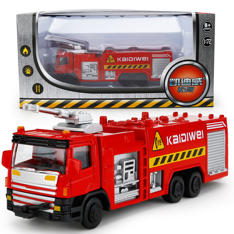 Children Kids Alloy Diecast Firefighting Series High Pressure Water Tank Ladder Model Toy Miniature Car Metal 1:50 Gift