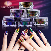 1 Box  Magic Mirror Chrome Powder Metallic Gold Purple Nail Makeup Dust Art DIY Pigment Glitters Powders Sequins