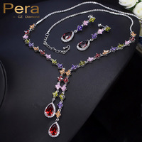 Pera Big Water Dropping Multi Colorful Cubic Zirconia Stone Pave Setting Long Dangle Necklace And Earrings