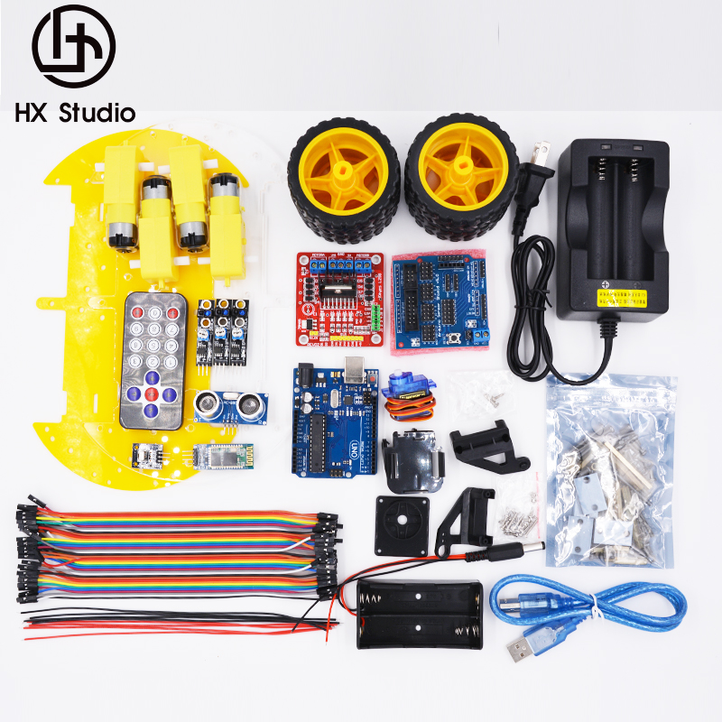 Multi-function Smart Car Kit Bluetooth Chassis Suit Tracking Compatible Uno R3 Diy Rc Electronic Toy Robot With 1602 Active Components Electronic Components & Supplies
