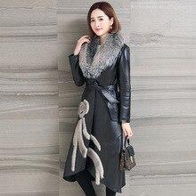Plus size Real fox fur collar 2018 autumn jacket women genuine leather jackets mink fur leather jacket Women's outerwear
