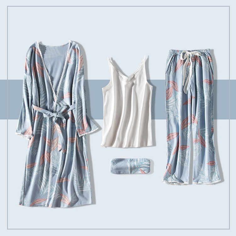 JRMISSLI, новинка, халат, сексуальный, v-образный вырез, хлопок, халаты, одежда для сна, весна, осень, для женщин, пижама, 7 шт., набор, халат, набор, нижнее белье, женское белье