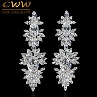 Luxurious Clear CZ Diamond Setting White Gold Plated Long Wedding Drop Dangle Earrings With Marquise Shape
