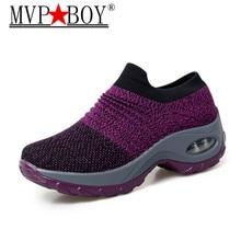 MVP BOY 2019 Spring New women sneakers shoes flat slip on platform for black breathable mesh sock Trainers 35-42