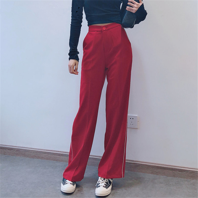 2019 Summer Women Red Straight Button   Wide     Leg     Pants   Casual Simple High Waist Pocket Loose Trousers
