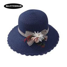 MATTYDOLIE Bow Flower Hat Lady Summer Big Side Dome Sun Outdoor Travel Beach Visor Straw New