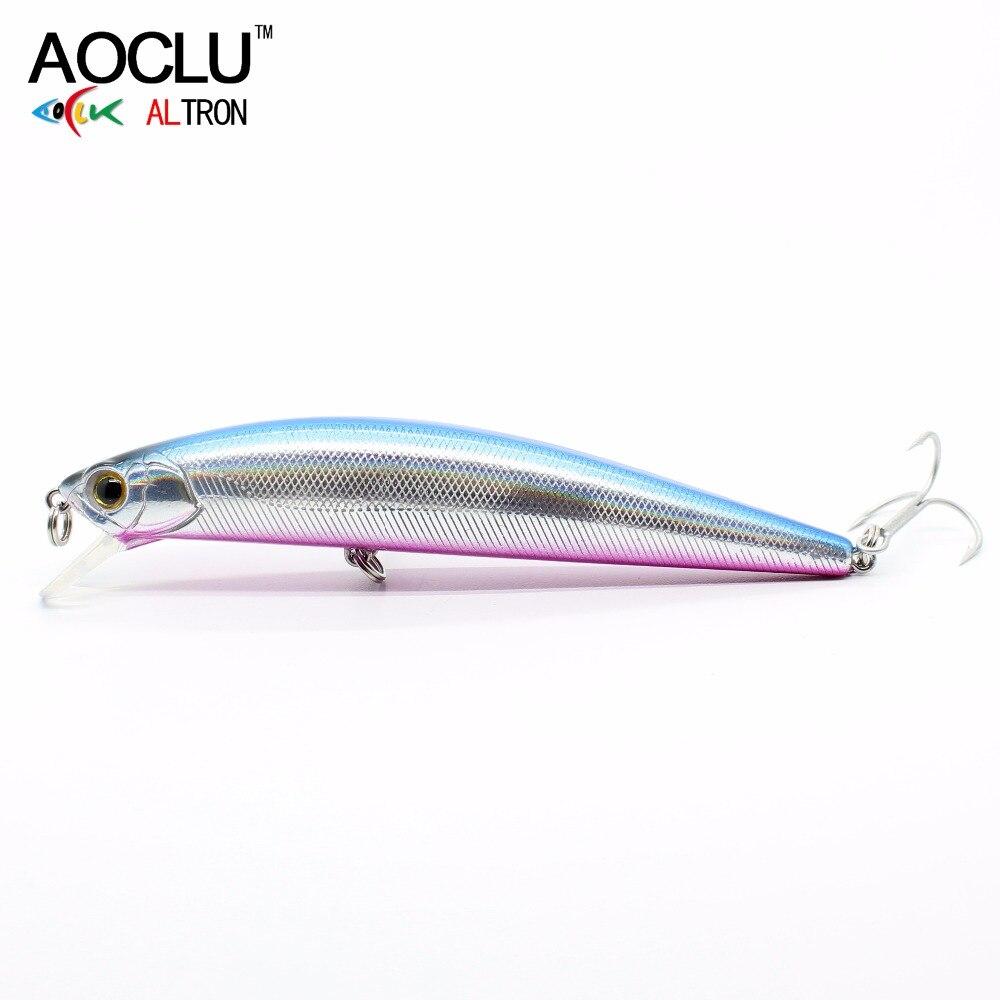 AOCLU Crank Fishing Salt Minnow Vmc Hooks 11cm Lures-Bass Hard-Bait 5-Colors 23g Fresh