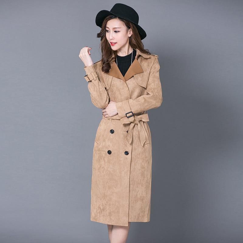 Double Breasted New Women suede Long Trench Coat Cardigan Spring autumn Open Stitch Slim Long Coat Windbreaker Kimono Outwear
