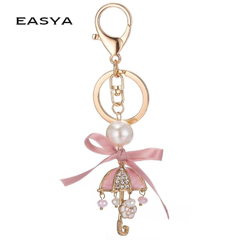 EASYA módní dámská taška Pearl roztomilý květ deštník Keychain pěkná kabelka Bow-uzel klíč držák kabelka přívěsek dárek CHY-3704