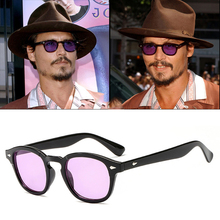 AOZE Johnny Depp Glasses Men Sunglasses Tony Stark Retro Gothic Steampunk Round Tint Ocean Lens Party Festival UV400