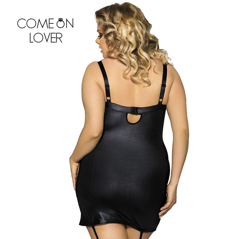 Comeonlover Black faux leather Plus size babydoll dress erotic costume sexy mini lenceria erotica mujer sexi lingerie RI7859  1