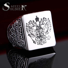 steel soldier double eagle ring men ring fashion jewelry for men a coat of arms of the Russian Signet Ring
