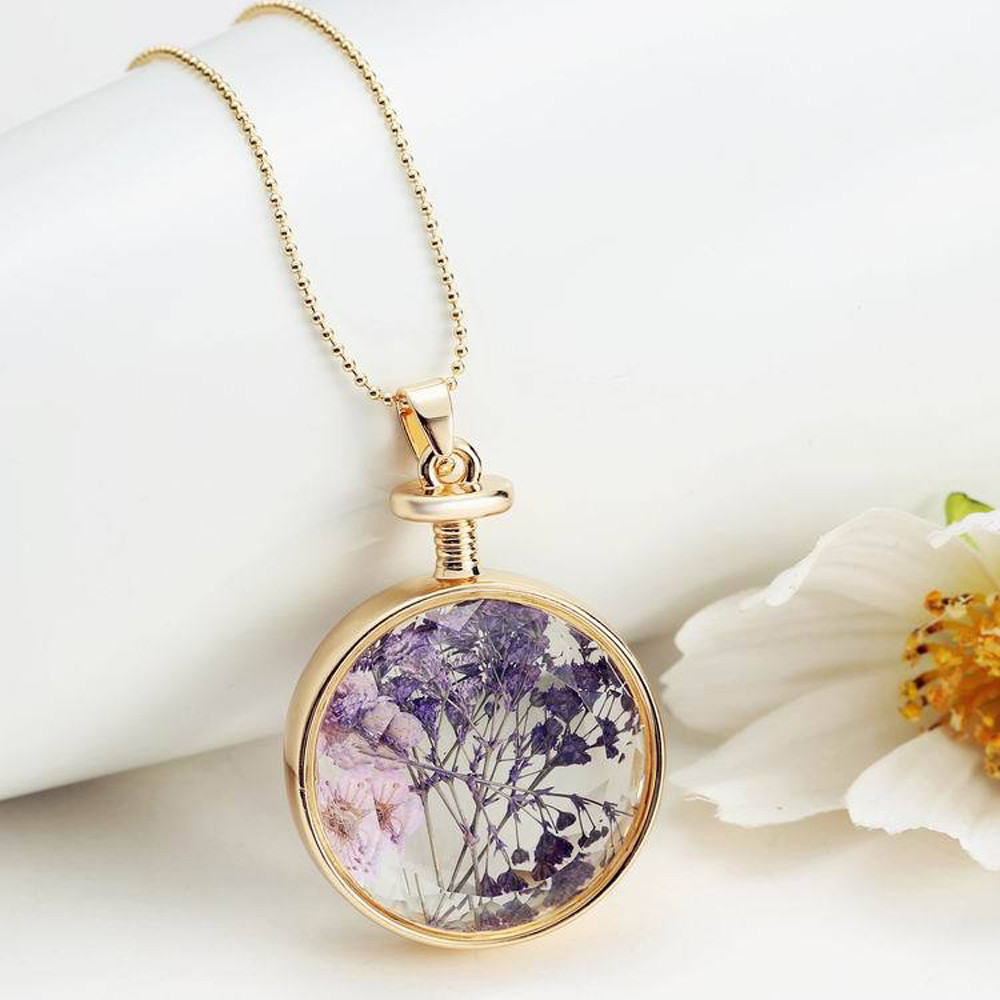 susenstoneWholesale New Womens Jewelry Women Dry Flower Transparent Crystal Wishing Bottle Pendant Necklaces Gils Ladies #0412