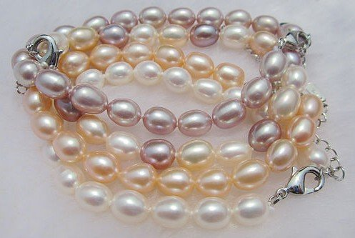 6-7MM 100% Genuine Natural Freshwater Pearl Bracelet Bangle Fashion Jewelry, 30pcs/lot+Free Shipping