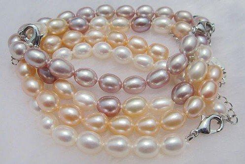 6-7MM 100% Genuine Natural Freshwater Pearl Bracelet Bangle Fashion Jewelry, 30pcs/lot+Free Shipping