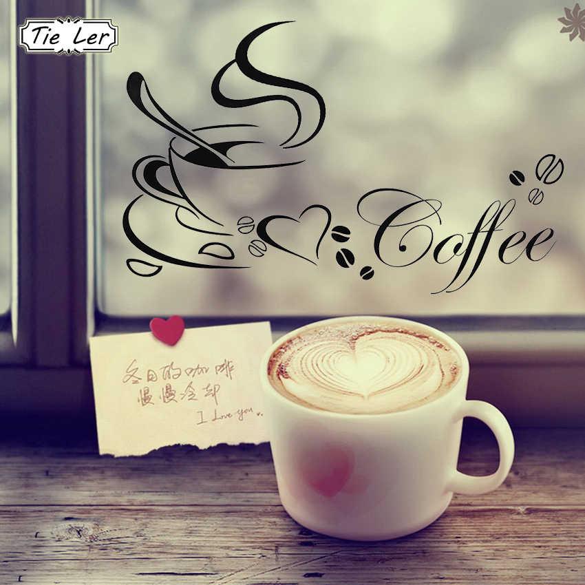 الجدار ملصق فنجان القهوة مع القلب الفينيل ملصقات الحائط القابلة للإزالة DIY بها بنفسك المطبخ مطعم حانة للمنزل ديكور جدار الفن