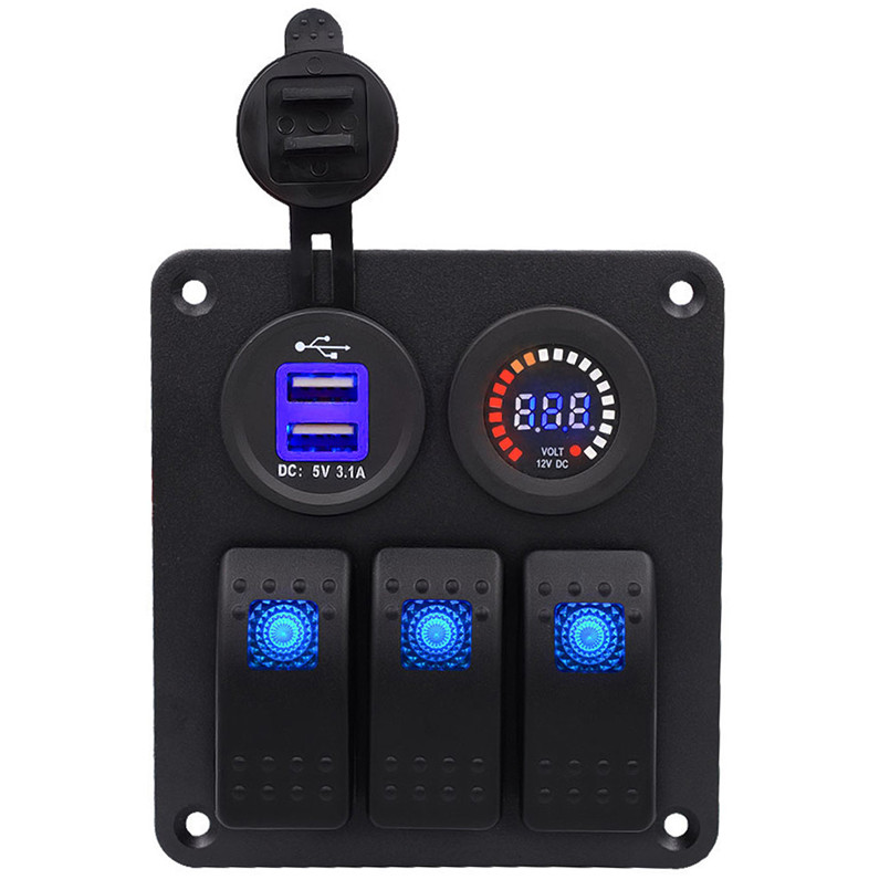 3 Gang Waterproof Marine Blue Led Switch Panel With Power Socket Voltmeter 2017 Switch Panel(China)