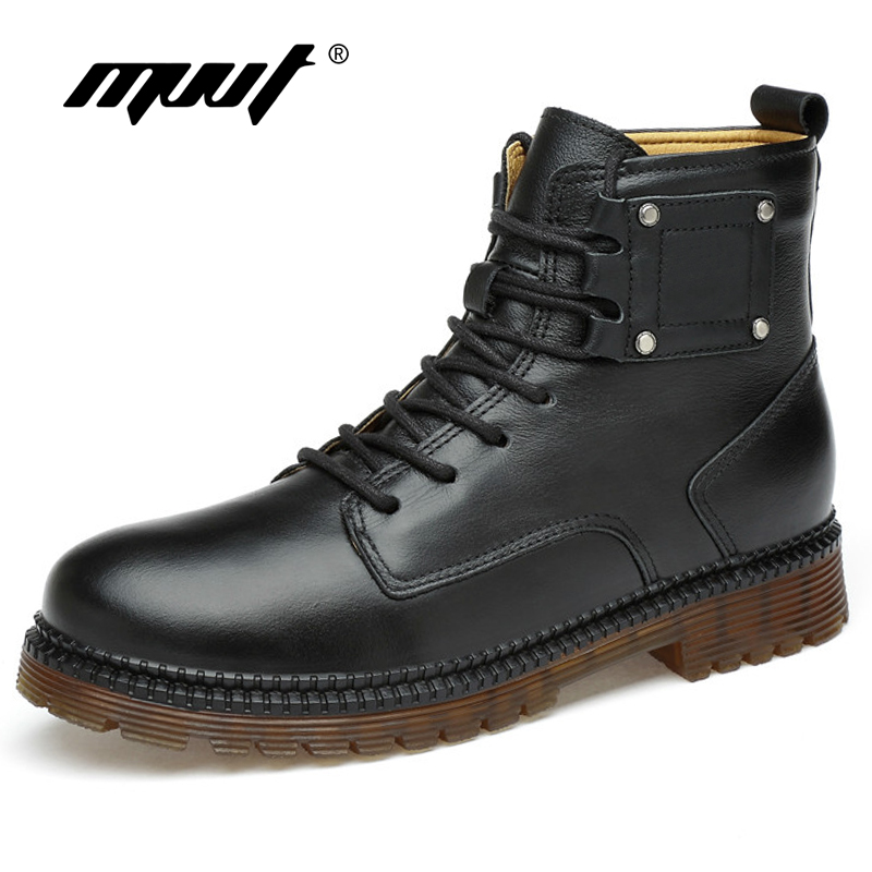 MVVT Keep Warm Men Winter Boots With Fur Fashion Genuine Leather Motorcycle Boots Wool Men Boots Lace-Up Martin Boots цены онлайн