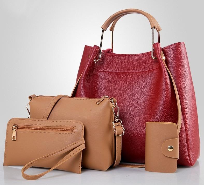Bucket Bag 4Pieces Composite Bags Women Totes Handbags Female PU Leather Casual Shoulder Designer Ladies HOBO