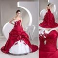2016 Nuevo Blanco Rojo Vestidos de Novia Con vestido de Bola de Cristal Apliques de Encaje Tribunal Tren de Organza de Raso vestido de Novia