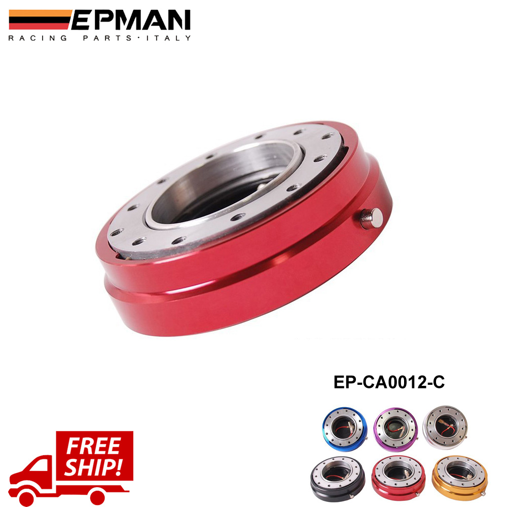 EPMAN Red Quick Release Thin Version 6 Hole Steering Wheel Quick Release Hub Adapter Snap Off