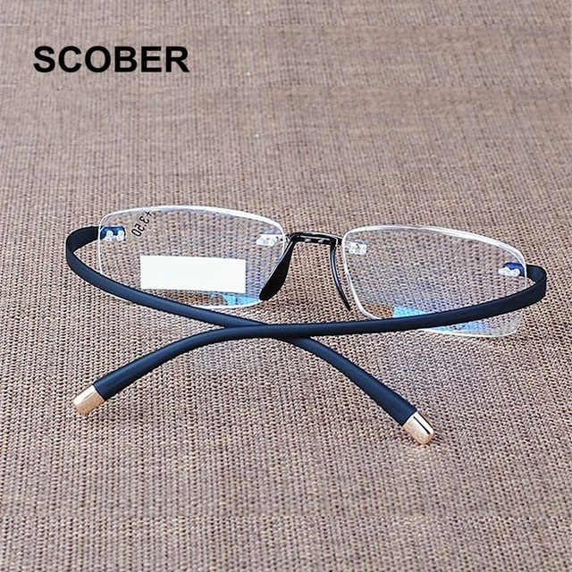 SCOBER Upscale Extremely Flexible Temple Rimless Reading Glasses Men Women Spectacles Magnifying Vision Presbyopic Eyewear R104