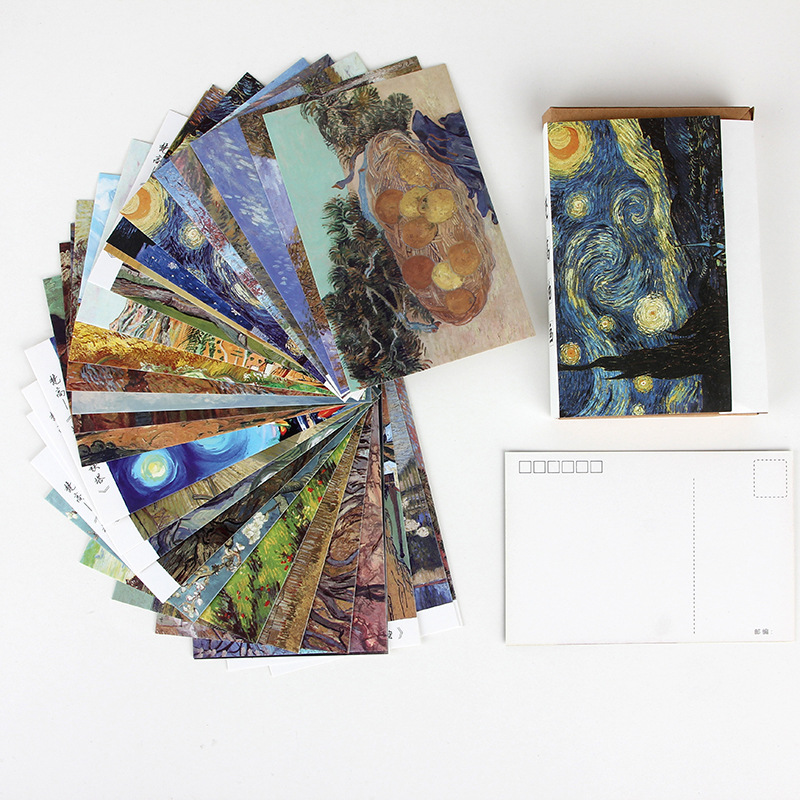 30 Pcs/Set Van Gogh Oil Painting Postcard/Greeting Card/Message Card/Birthday Letter Envelope Gift Card Two Sizes