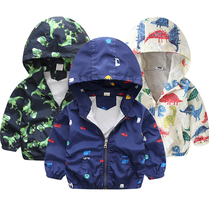 Children Jackets Autumn Spring Kids Outerwear Coats Cute Dinosaur Cartoon Jackets For Boys Baby Boys Girls Windbreaker 1-7T