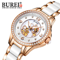 BUREI Luxury Watch Women Crystal Sapphire Dress Quartz Wristwatch 5ATM Waterproof Hollow Dial Ceramic stainless steel Clock