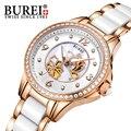 Burei mujeres de relojes de lujo vestido de reloj de pulsera de cuarzo cristal de zafiro resistente al agua 5atm hollow dial reloj de acero inoxidable de cerámica