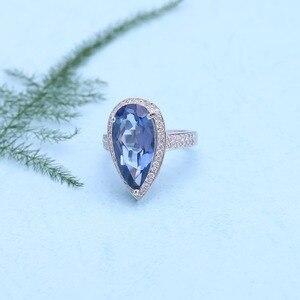Image 2 - Mücevher bale 7.89Ct doğal Iolite mavi mistik kuvars yüzük 925 ayar gümüş taş su damlası yüzük kadın için ince takı