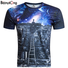 2017 New Galaxy Space Print Creative unisex students T Shirt 3d Men's T shirt Summer Novelty Psychedelic Tee Shirts Clothes