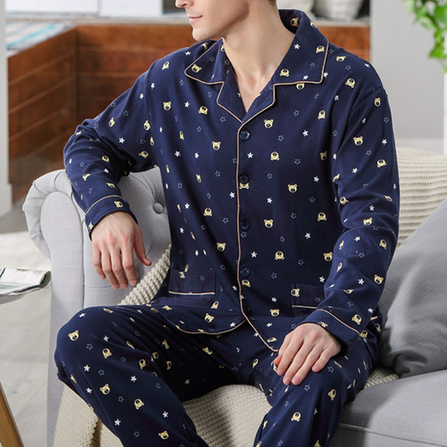 Deep Blue pijamas masculinos Winter Autumn Men's Pajama Sleepwear Bear Printed Mens Nightgown Sleepwear family christmas pajamas