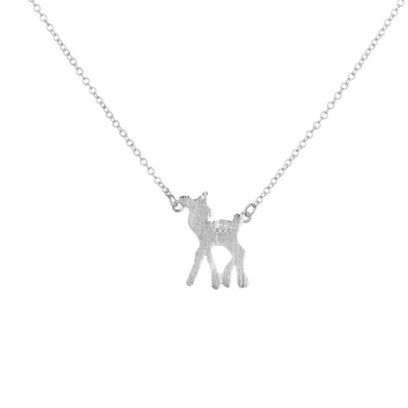 Deer Pendant Silver Plated Necklace Handmade Animal Jewelry Female Cloth Accessories
