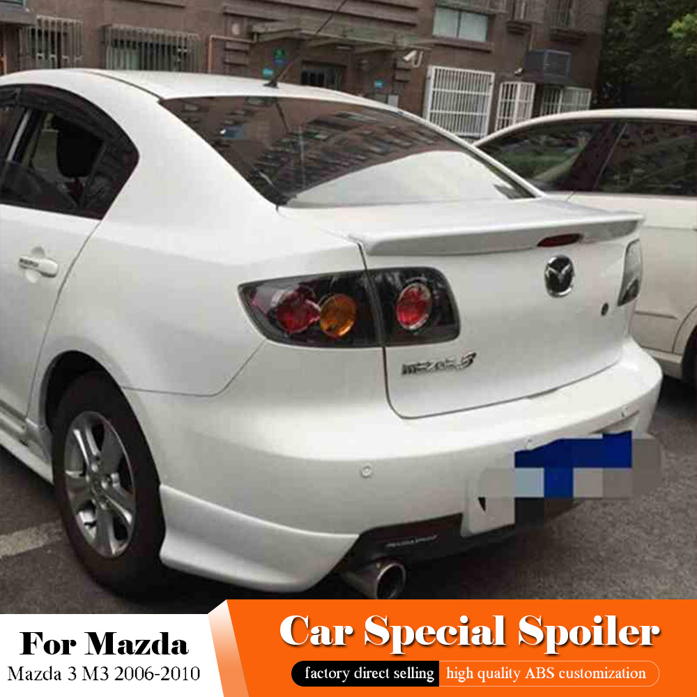 Fit For Mazda 3 M3 Black Spoiler 2006-2010 Car Tail Wing Decoration Accessories ABS Plastic White Color Rear Trunk Roof Spoiler
