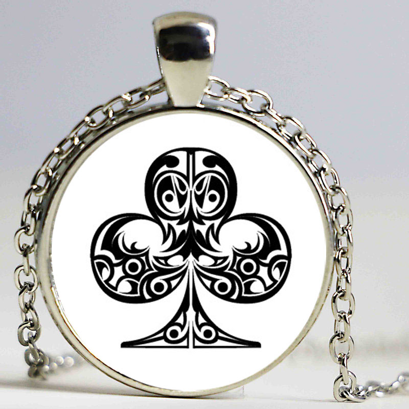 New Creative DIY Poker Suit Jewellry Spade Heart Club statement necklace boho Glass Cabochon bijoux