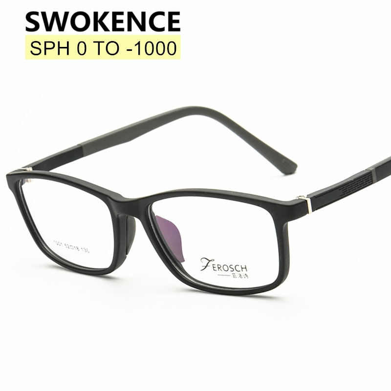SWOKENCE SPH 0 To -10 Myopia Glasses Customizable Men Women TR90 Frame Prescription Spectacles With Diopter Nearsighted WP003
