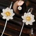 925 trefilado de plata pura hechos a mano de loto pendientes femeninos elegante fresco pendiente del perno prisionero pendientes nacionales de la vendimia