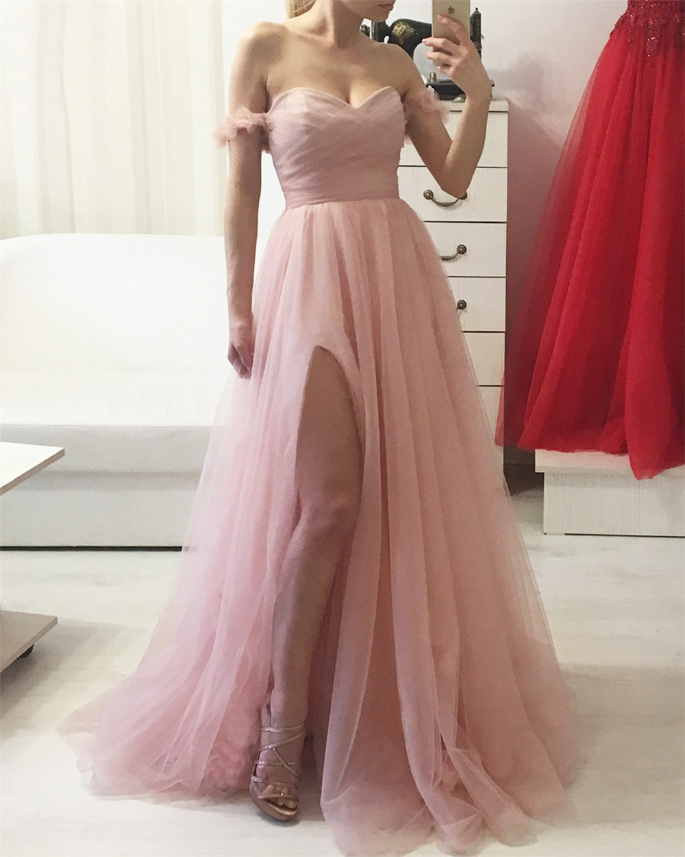 Wonderful Pink Tulle Long Prom Dresses Off The Shoulder A Line Floor Length Boat Neck Sexy